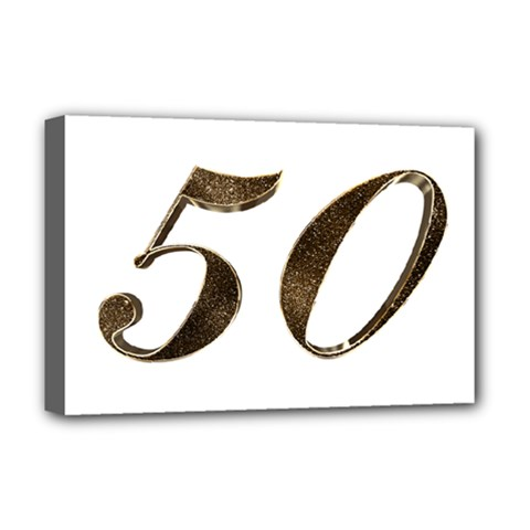 Number 50 Elegant Gold Glitter Look Typography Deluxe Canvas 18  x 12