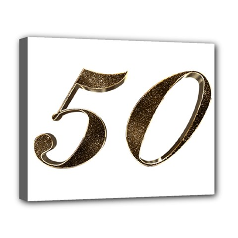 Number 50 Elegant Gold Glitter Look Typography Deluxe Canvas 20  X 16