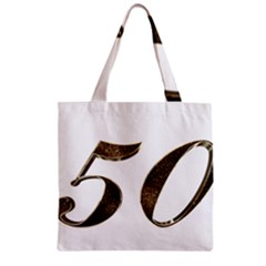 Number 50 Elegant Gold Glitter Look Typography Zipper Grocery Tote Bag