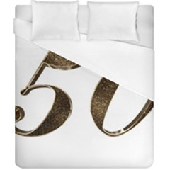 Number 50 Elegant Gold Glitter Look Typography Duvet Cover (california King Size)