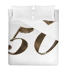 Number 50 Elegant Gold Glitter Look Typography Duvet Cover Double Side (Full/ Double Size)