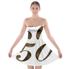 Number 50 Elegant Gold Glitter Look Typography Strapless Bra Top Dress