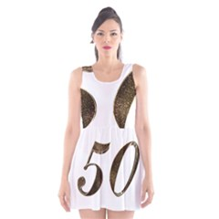 Number 50 Elegant Gold Glitter Look Typography Scoop Neck Skater Dress
