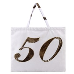Number 50 Elegant Gold Glitter Look Typography Zipper Large Tote Bag