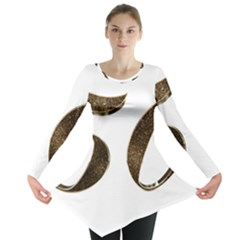Number 50 Elegant Gold Glitter Look Typography Long Sleeve Tunic