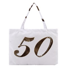 Number 50 Elegant Gold Glitter Look Typography Medium Tote Bag