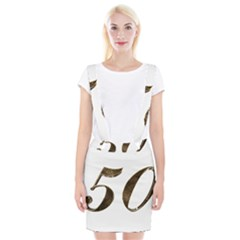 Number 50 Elegant Gold Glitter Look Typography Braces Suspender Skirt