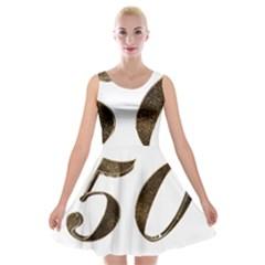 Number 50 Elegant Gold Glitter Look Typography Velvet Skater Dress