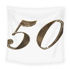 Number 50 Elegant Gold Glitter Look Typography Square Tapestry (Large)