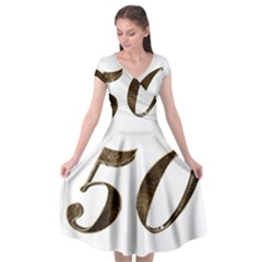 Number 50 Elegant Gold Glitter Look Typography Cap Sleeve Wrap Front Dress