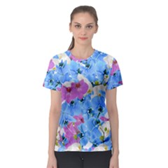 Tulips Flower Pattern Women s Sport Mesh Tee