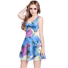 Tulips Flower Pattern Reversible Sleeveless Dress