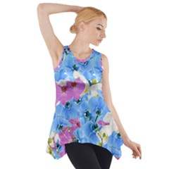 Tulips Flower Pattern Side Drop Tank Tunic