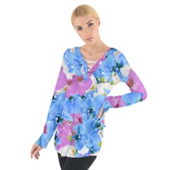 Tulips Flower Pattern Tie Up Tee