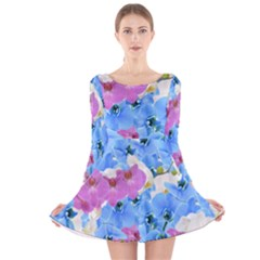 Tulips Flower Pattern Long Sleeve Velvet Skater Dress
