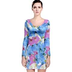 Tulips Flower Pattern Long Sleeve Velvet Bodycon Dress