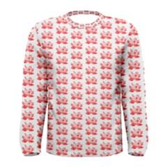 Red Lotus Floral Pattern Men s Long Sleeve Tee