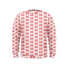 Red Lotus Floral Pattern Kids  Sweatshirt