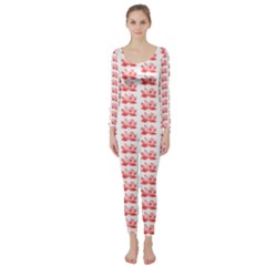 Red Lotus Floral Pattern Long Sleeve Catsuit