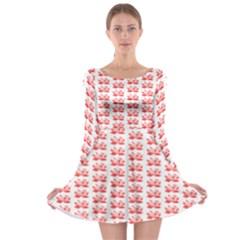Red Lotus Floral Pattern Long Sleeve Skater Dress