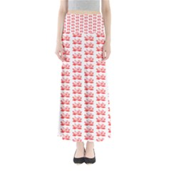 Red Lotus Floral Pattern Full Length Maxi Skirt