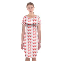 Red Lotus Floral Pattern Classic Short Sleeve Midi Dress