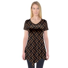 WOV2 BK-MRBL BR-WOOD Short Sleeve Tunic