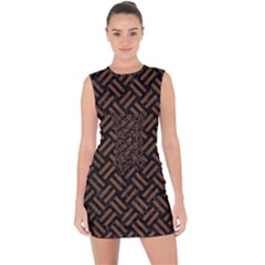 Woven2 Black Marble & Brown Wood Lace Up Front Bodycon Dress