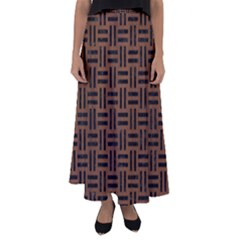 Woven1 Black Marble & Brown Wood (r) Flared Maxi Skirt