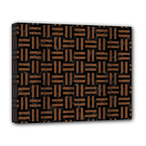 Woven1 Black Marble & Brown Wood Deluxe Canvas 20  X 16  (stretched)