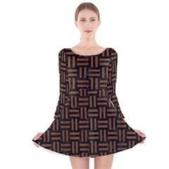 WOV1 BK-MRBL BR-WOOD Long Sleeve Velvet Skater Dress