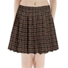 WOV1 BK-MRBL BR-WOOD Pleated Mini Skirt