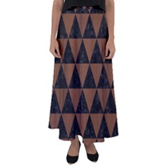 Triangle3 Black Marble & Brown Wood Flared Maxi Skirt