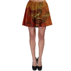 Golden Clef On Vintage Background Skater Skirt