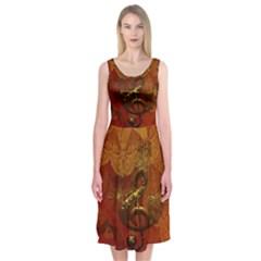 Golden Clef On Vintage Background Midi Sleeveless Dress