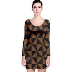 Tri1 Bk Mrbl Br Wood Long Sleeve Velvet Bodycon Dress
