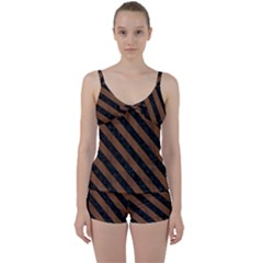 Str3 Bk Mrbl Br Wood (r) Tie Front Two Piece Tankini