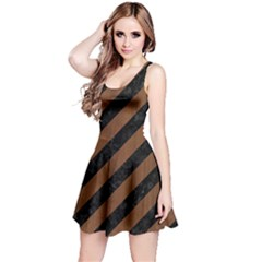 Stripes3 Black Marble & Brown Wood Reversible Sleeveless Dress