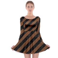 STR3 BK-MRBL BR-WOOD Long Sleeve Skater Dress