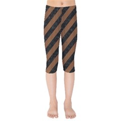 Stripes3 Black Marble & Brown Wood Kids  Capri Leggings