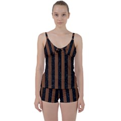 Stripes1 Black Marble & Brown Wood Tie Front Two Piece Tankini