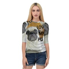 Pug Love W Picture Quarter Sleeve Tee