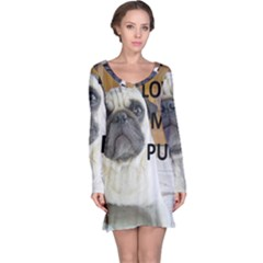 Pug Love W Picture Long Sleeve Nightdress