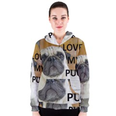 Pug Love W Picture Women s Zipper Hoodie