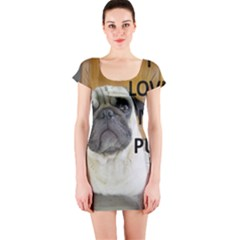 Pug Love W Picture Short Sleeve Bodycon Dress