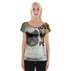 Pug Love W Picture Cap Sleeve Tops