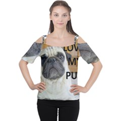Pug Love W Picture Cutout Shoulder Tee