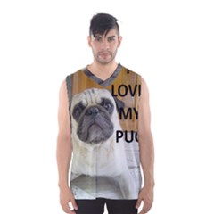 Pug Love W Picture Men s Basketball Tank Top