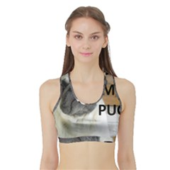 Pug Love W Picture Sports Bra with Border