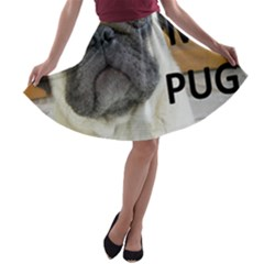 Pug Love W Picture A-line Skater Skirt